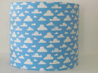 NEW Handmade Sky Blue White Cloud Nursery Baby Childrens Lampshade Lightshade