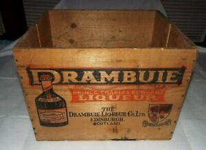 EMPTY 1960's DRAMBUIE PRINCE CHARLES EDWARD LIQUEUR WOOD CRATE, SCOTLAND READ!