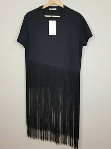 ZARA-Womens-Black-Fringed-Top-NEW-Size-M-or-AU-12-or-US-8