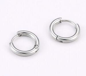 Men Children Huggie Hoop Earrings Small 15mm X 2 5mm Stainless Steel