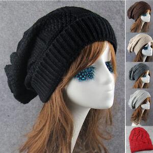 2f7e0cc7ac0 Men Women Ladies Knitted Winter Oversized Slouch Beanie Hat Cap ...