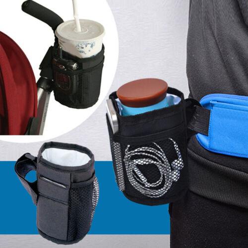 WO/_ Durable Baby Stroller Pram Mug Cup Bottle Holder Thermal Bag with Pocket Lat