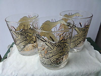3 Georges Briard Designer Ducks in Flight Cat Tails Signed Glass Tumblers