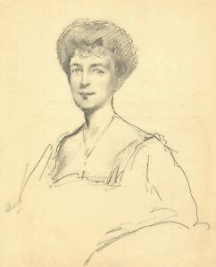 Count Mario Grixoni, Portrait of an Edwardian Lady – Early 20th-century drawing