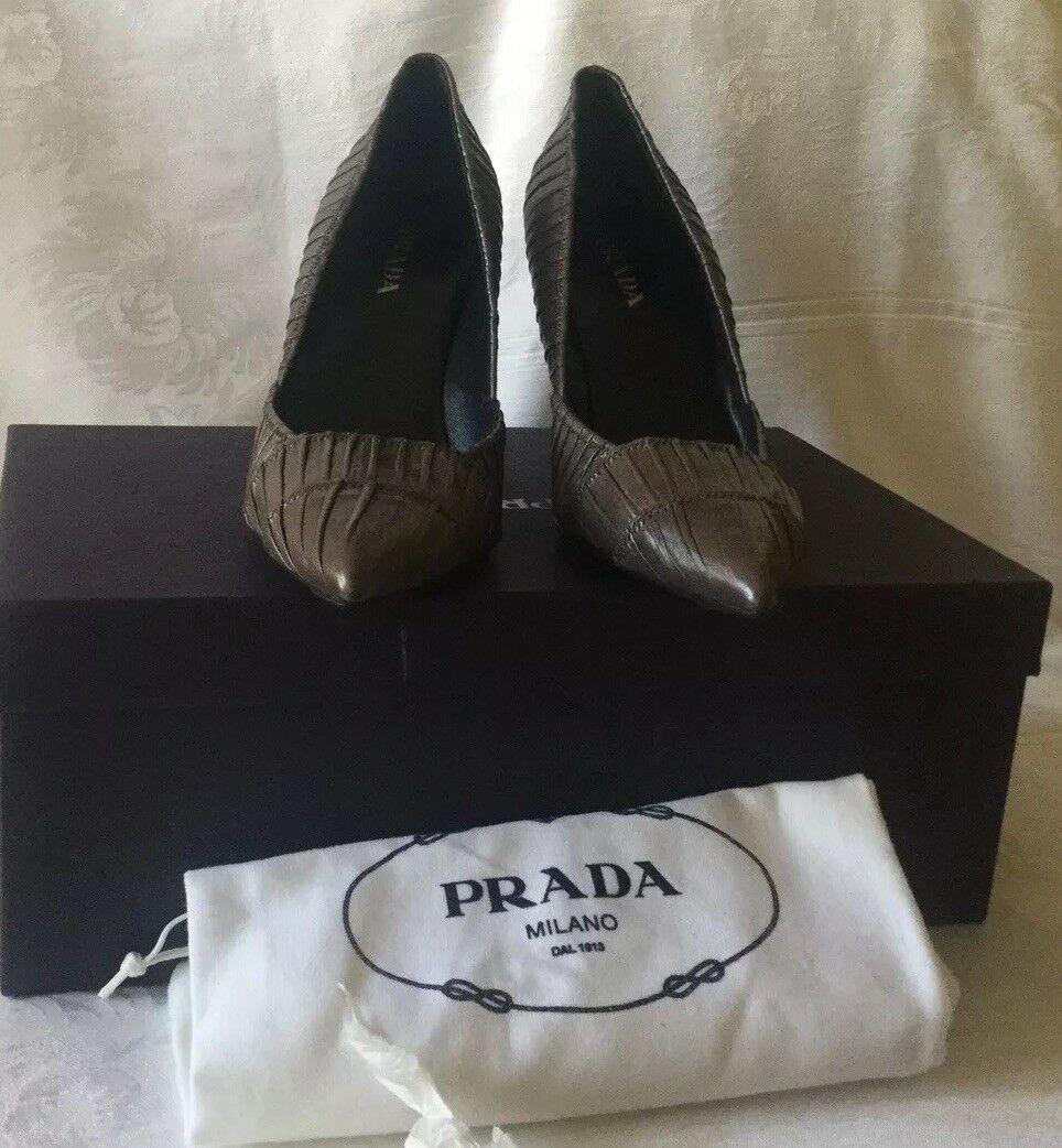 Prada Womens Stiletto Snake Snake Snake Alligator Leather sz 40-Never Been Worn-Retail 789. 21851c