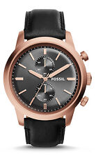 Fossil FS5097 Men's Townsman Rose Gold Tone Black Leather Band Chronograph Watch