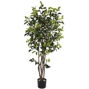 Nearly Natural 5208 Ficus Artificial Tree with Curved Trunk 5-Feet Green