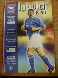 30-09-2001-Ipswich-Town-v-Leeds-United-Worn-On-Spine-Light-Fold