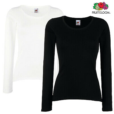 Besorgt 2 X Fruit Of The Loom Lady Fit T-shirt Top Long Sleeves Sleeve Tshirts 2 Pack Elegant Im Stil