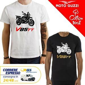 T-Shirt-Moto-Guzzi-V85TT-Guzzi-uomo-Maglia-moto-nera-cotone-100-maglietta