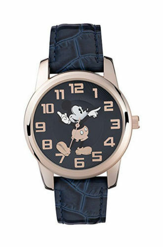 New Disney Mickey Mouse MK1456 Blue Leather Strap Watch