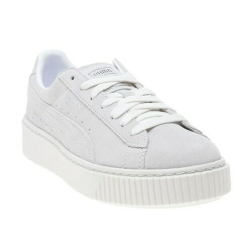 New Girls Puma Grey White Suede Platform Trainers Chunky Lace Up
