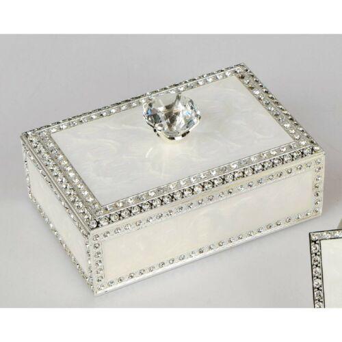 Schmuckdose Ringdose WEDDING mit Strass 9x14cm weiß mit Kristallknauf Formano
