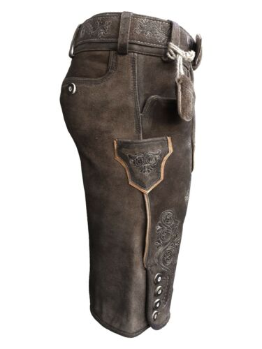 Gr Kurze Herren Lederhose mit Gürtel 44-62 Wildbockleder Braun Krone-D