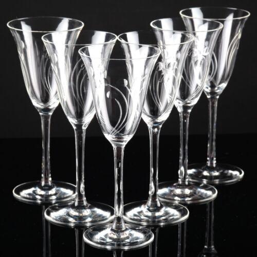 6 edle Vintage Sektgläser Kristall Gläser Linsen Bögen Schliff Gravur Gläser R6U