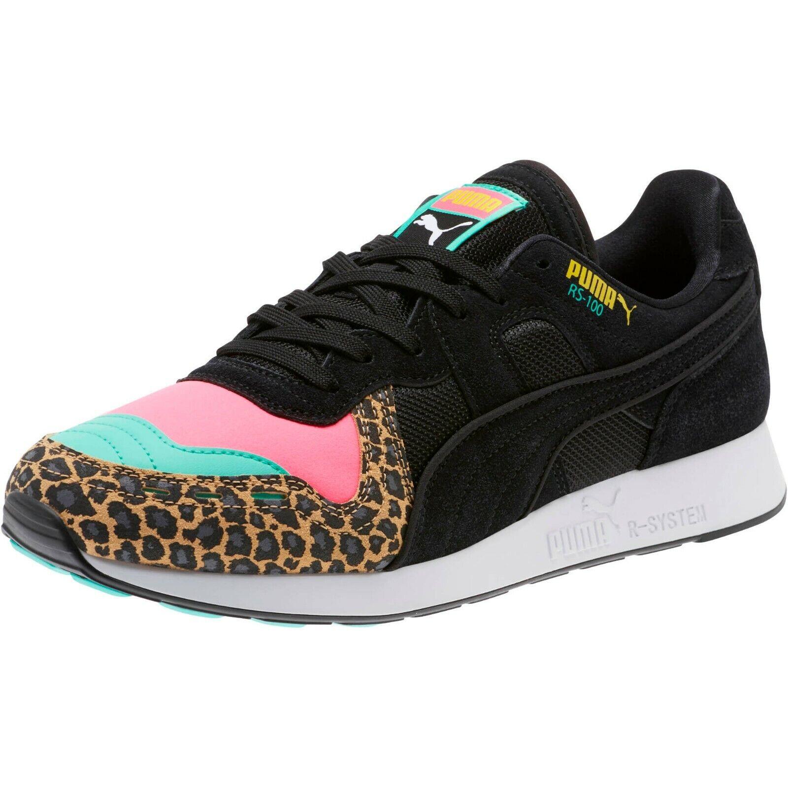 Puma Men's RS-100 PARTY CHEETAH shoes KNOCKOUT Pink Puma Black 368293-01 d