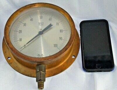 "Antique Marshalltown 6.5"" Test Gauge Solid Brass 7.75"" Base Plate Kortingen Sale"