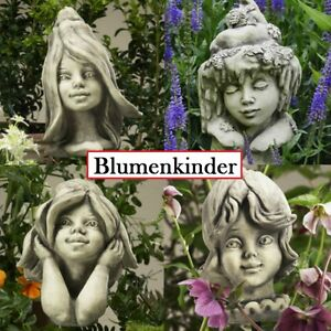 Blumenkind-Gartenstecker-Gartendeko-Steinguss-Kopf-Zauberlume-Vidroflor-Betong