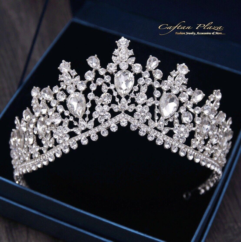 Tiara XL Diadem Crown Rhinestone Crystal Bridal Wedding Silver Elegant New