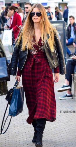 Zara Check Embroidered Midi Dress