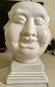 4-Sided-Statue-Asian-Indian-Happy-Sad-Mad-Ivory-Glass-12-X-8-X-8-Art