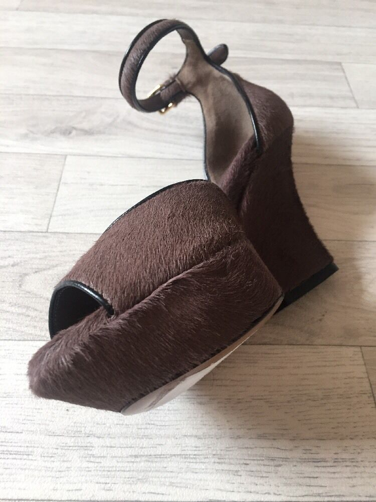MARNI Shoes wedge dark brown platform wedge Shoes shoes. /36.  Calf Hair Marni Heels 87b4b7