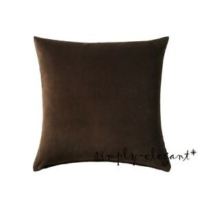 Ikea-Sanela-Brown-Cotton-Velvet-Cushion-Cover-Pillow-Cover-w-zipper-20x20-034-NEW