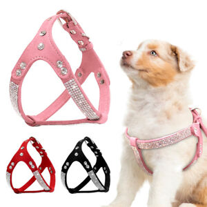Rhinestone Step In Dog Harness Soft Suede Leather Harness For Yorkie