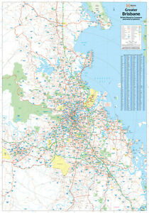 MAP-OF-BRISBANE-AND-REGION-POSTER-034-LARGE-034-70cm-X-100cm-034-ROAD-GUIDES-034-BRAND-NEW