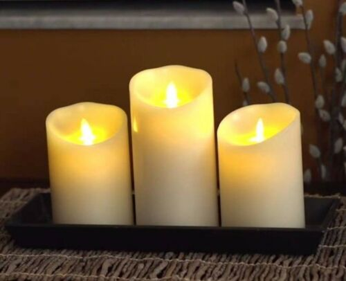 """two 5/"""" and one 7/"""" free remote Set of 3 Vanilla Scent Luminara Fireless Candles"""