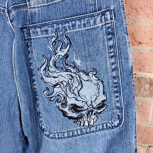 Jnco-85-Jeans-34x32-Flaming-Skull-Baggy-Deep-Pocket-Skater-Grunge-Rave-Distress