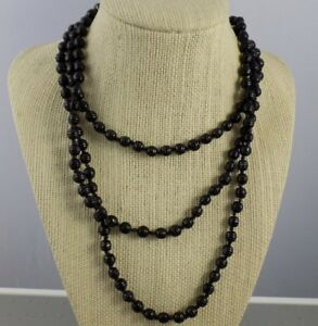 Vintage-50-034-Long-Flapper-Style-Black-Glass-Bead-Necklace-Knotted-String-1-4-034-Bds