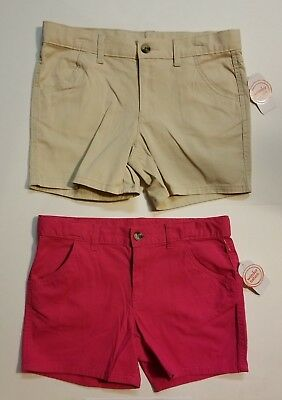 Wonder Nation Girls/' Chino Shorts 3 PACK* Kids Cotton FUSHIA Navy Khaki Size 14