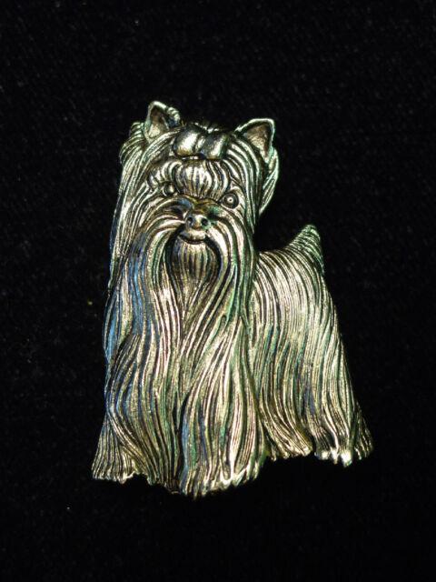 """JJ"" Jonette Jewelry Antique Gold Pewter Cutie Pie YORKSHIRE TERRIER Dog Pin"