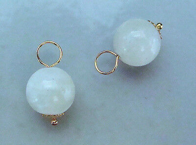 10mm Beautiful AAA White Moonstone INTERCHANGEABLE Earring Charms YG or SS
