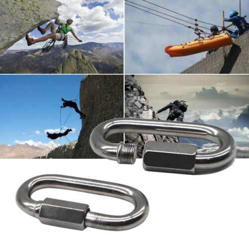 Carabiner Clip Compact Oval Locking Keychain Climbing Hiking Mountaineering Hook
