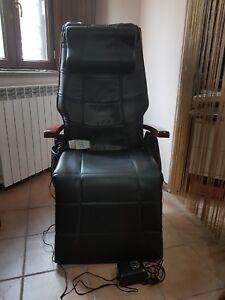 Poltrona Massaggiante Roma.Dettagli Su Poltrona Massaggiante Relax Elettrica Reclinabile In Pelle Nera Roma