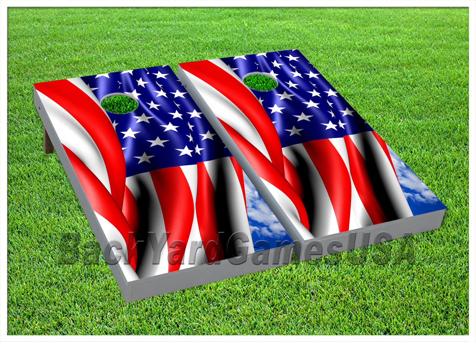 CORNHOLE BEANBAG TOSS GAME w Bags Game  Boards USA Red White bluee Stars Set 1109  high discount
