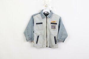Vintage-90s-Levis-Little-Levis-Youth-Size-7-Striped-Distressed-Denim-Jean-Jacket