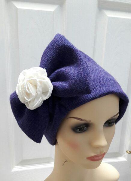 40s50s Di Ispirazione Vintage Donna Cappello Invernale Taglia M_l60cm Con Fiocco Rimovibile & Fiore