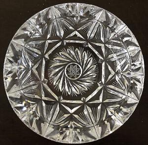 "Vintage Large Lead Crystal Cut Clear Glass Ashtray Star Pinwheel Heavy ~ 5.5"""
