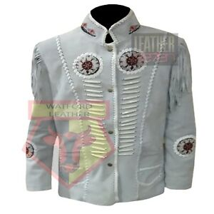 MOTORBIKE-1080-WHITE-FRINGED-BEADED-STUDDED-TASSELED-SUEDE-LEATHER-JACKET