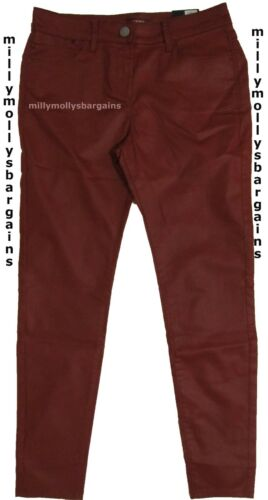 NUOVA linea donna Marks /& Spencer marroni in pelle Look Jeggings Taglia 12 Medium Label Faul