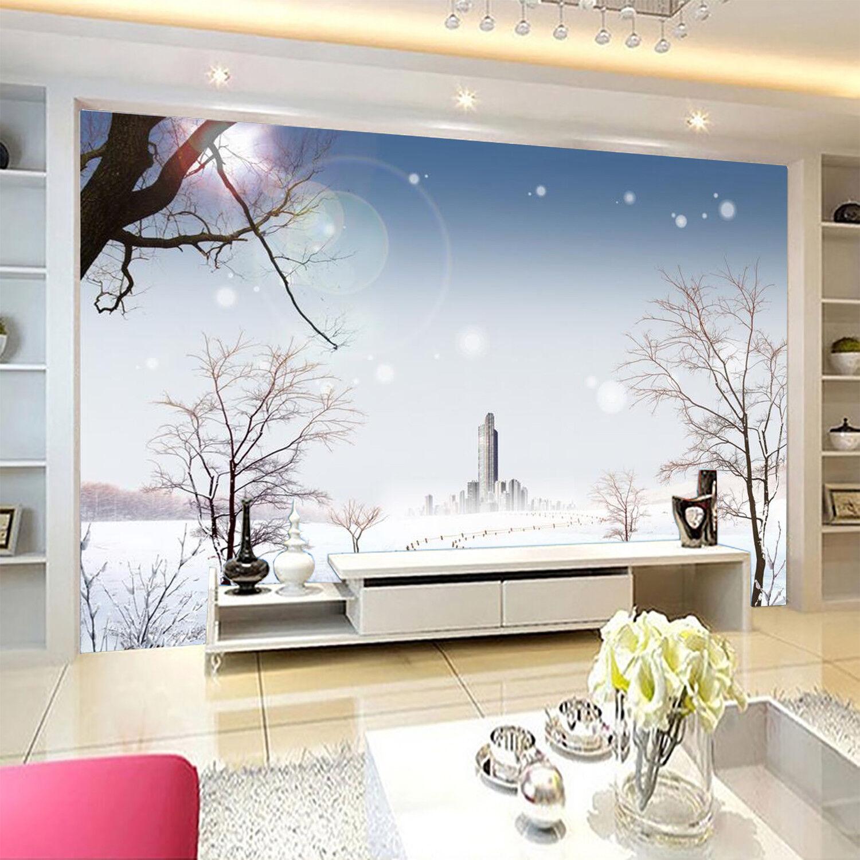 3D Winter Himmel Baum 7988 Tapete Wandgemälde Tapeten Bild Familie DE Kyra