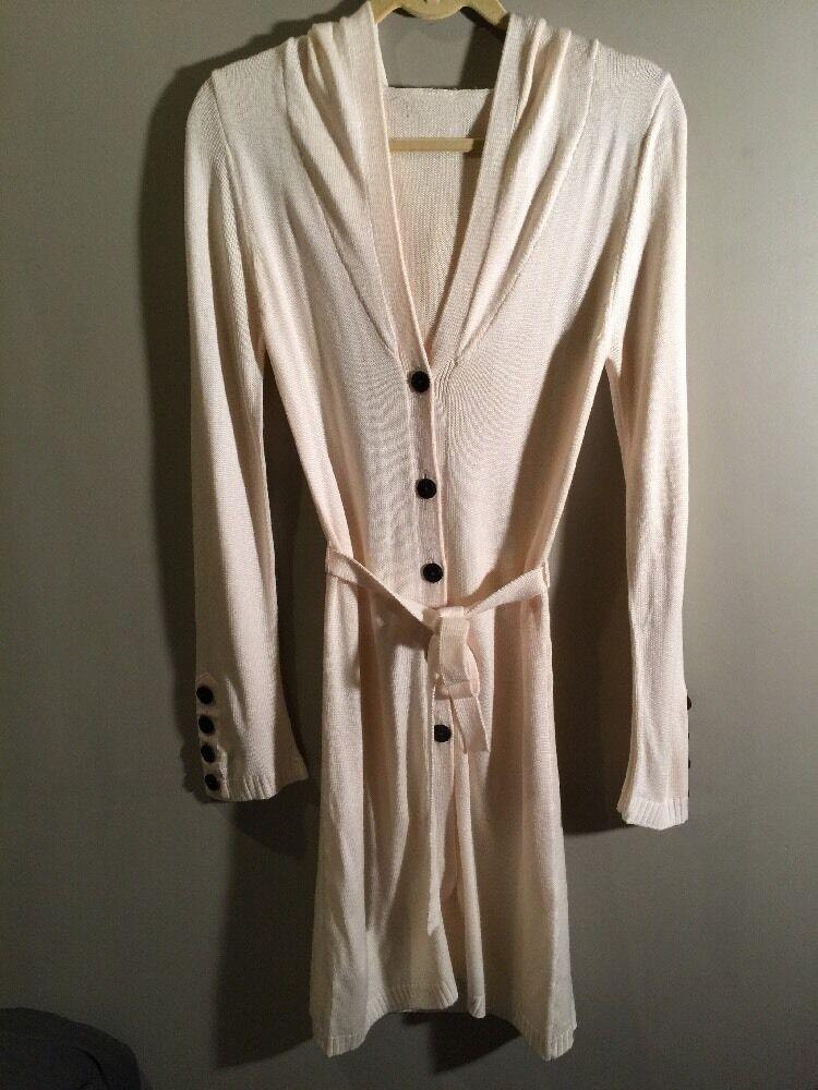 Suzabelle Boutique Sweater Coat Size XS Long Hooded Creme Ivory