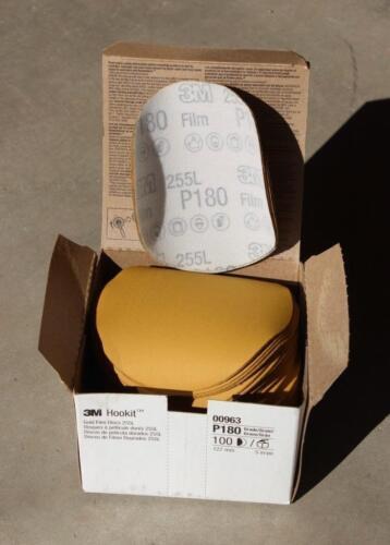 Grain P180-100 Discs//Box Item No 3M Hookit Gold Film Discs 255L 00963