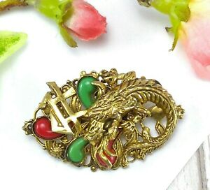 Antique-Vintage-Czech-Oriental-Chinese-Revival-Dragon-Brooch