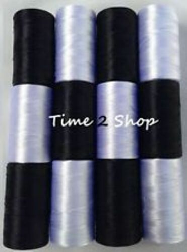 12 Noir /& Blanc Large Art Silk Pure Rayonne Machine Broderie Fil Bobines NEUF
