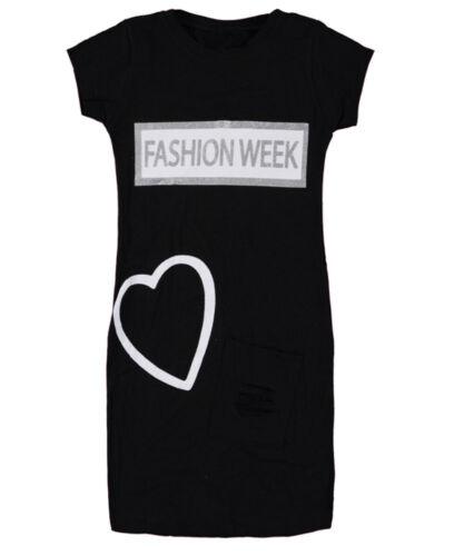 Enfants Filles Fashion Week Cœur Midi Robe Tunique Tops Âge 9-12 ans