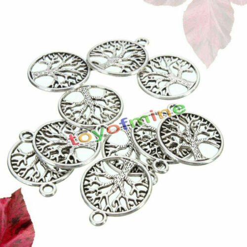 10Pcs Tibetan Silver /'Tree of Life Circle/' Pendants Charms For Jewelry Findings